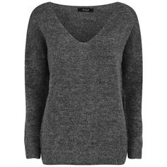 VILA Women's V-Neck Knitted Jumper - Dark Grey ($26) ❤ liked on Polyvore featuring tops, sweaters, jumpers, shirts, grey, grey sweater, long sleeve sweaters, dark grey shirt, gray v neck sweater and dark grey sweater