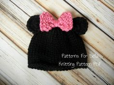 Minnie Mickey Mouse Hat KNITTING PATTERN easy beginner teddy bear baby infant toddler child photography prop beanie. $3.95, via Etsy.