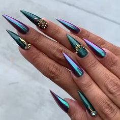 Teal Nails, Metallic Nails, Long Acrylic Nails, Fabulous Nails, Gorgeous Nails, Pretty Nails, Gothic Nail Art, Chrome Nails Designs, Acryl Nails
