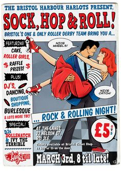 Roller derby sock hop poster from my league (Bristol Roller Derby), by Wingsart Roller Derby, Roller Skating, 50th Party, Birthday Party Themes, Derby Games, 50s Sock Hop, Bristol Harbour, Old Comic Books, They See Me Rollin