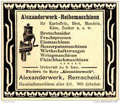 Original-Werbung/ Anzeige 1898 - ALEXANDERWERK REIBEMASCHINEN - REMSCHEID - ca…