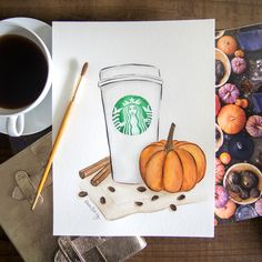 pumpkin spice latte / psl starbucks illustration