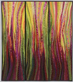 Original art quilt. Modern textile art. Rhubarb fire. Pieced and quilted. Wall…