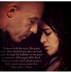 Dominic Toretto and Letty Ortiz from the Fast and the Furious