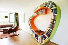 bookshelf bench - Google Search Diy Bookshelf Design, Creative Bookshelves, Bookshelf Ideas, Bookshelf Bench, Modern Bookshelf, Decorating Bookshelves, Deco Design, Design Case, Bibliotheque Design