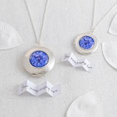 Bright blue Cornflower locket necklace, available in small (20mm diameter) and large (25mm diameter) sizes