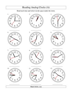 The Reading Time on 12 Hour Analog Clocks in 5 Minute