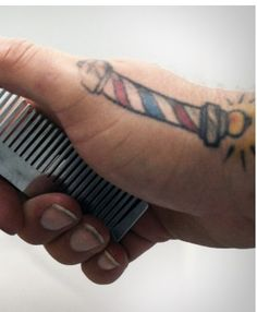 Barber pole clippers and straight razor tattoo by for Straight edge razor tattoo