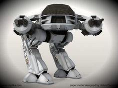 PAPERMAU: Robocop - Enforcement Droid Series 209 Robot Paper Modelby Paper Replika