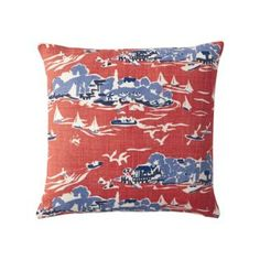 Here is a contemporary red white and blue toile pattern pillow that would be perfect for a beach or lake house or a boys room!