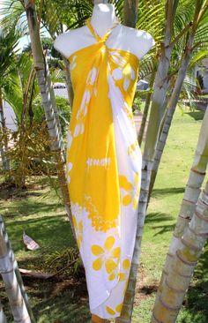 Sarong Yellow White Plumeria Hawaii Hawaiian Pareo Luau Cruise Wrap Dress   eBay