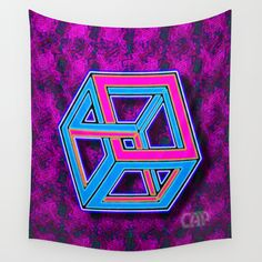 DIFORCE #4 Impossible Rectangle Psychedelic Optical Illusion Wall Tapestry