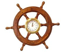 Hampton Nautical  Deluxe Class Wood and Brass Ship Wheel Clock 18' - Decorative Ship Steering Wheel - Nautical Home Decorating * Check out this great product.