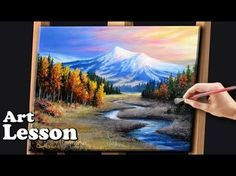 Painting a Beautiful Mountain Landscape with Acrylics - YouTube