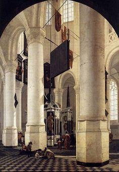 Gerard Houckgeest, Interior de la Nieuwe Kerk, en Delft, con la tumba de Guillermo el Silencioso