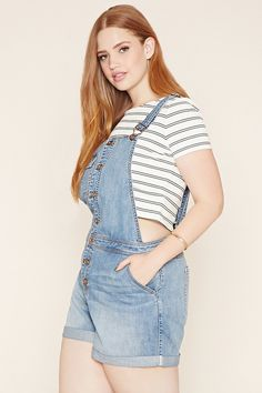 Plus Size Denim Overall Shorts | Forever 21 PLUS - 2000187462