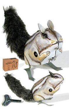 Jumping Squirrel Gray Tin Toy Windup | Tin Toy Treasures | Tin Toy Treasures |