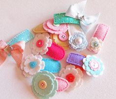 SURPRISE ME SET .Set Of 12 Hair Clips. Baby Clips. Wool Felt. Baby. Girls. Toddler. Felt Flowers. Save 15.00. $30.00, via Etsy.