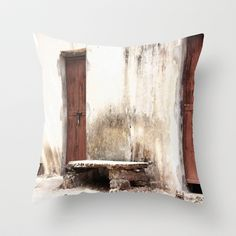 Seat in front of the Old Door Throw Pillow by Angelika Kimmig - $20.00