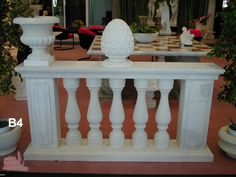 Balustrade in white stone of Vicenza - http://www.achillegrassi.com/en/project/balaustra-in-pietra-bianca-di-vicenza/ - Balustrade in white stone of Vicenza, Total height 90 cm consists of:  Ground and shaped section. 30×10 cm Balusters in the middle 70x15x15 cm pillars with mirror embossed70x25x20 cm