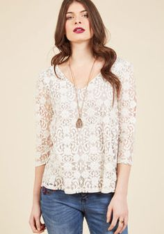 Of Ladylike Mind Lace Top in Ivory