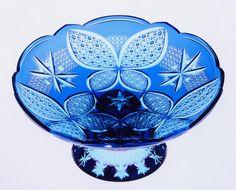 Mísa na kompot • modré broušené sklo, Aya Kiriko