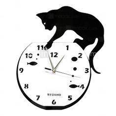 """[RUB p. 1 181,02] 15 """"ч озорной кот акриловые настенные часы с DIY циферблата и стрелок функции"""