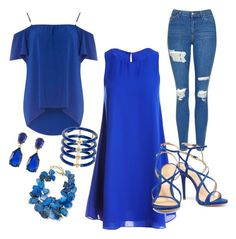 """""""Go blueeeeee!"""" by ashcrazy ❤ liked on Polyvore featuring Sans Souci, Dorothy Perkins, Topshop, Schutz, Elizabeth and James, NEST Jewelry and Kenneth Jay Lane"""