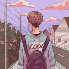 Boy, art, and cool image Pretty Art, Cute Art, Aesthetic Art, Aesthetic Anime, Aesthetic Drawings, Character Illustration, Illustration Art, Landscape Illustration, Illustrations