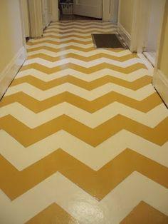 DIY chevron painted floor