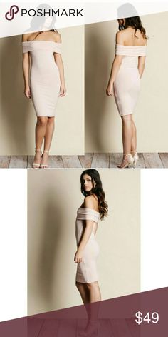 Off Shoulder Midi Dress Off Shoulder Midi Dress - Blush  Soft and slightly see through.  Modeling size small  True to size.  96% rayon, 4% spandex Dresses Midi