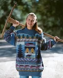 Textile artist Sirkka Könönen, Finland. The pattern was published in mid 90's for knitting kits and Finnish knitting magazines