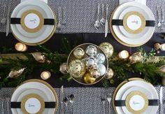tisch weihnachten gold silber tannenzweige schwarzer tischläufer