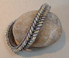 Lentille Bracelet with Adele Kimpell.  Herringbone using 2-hole lentil beads.  Class at Funky Hannah's