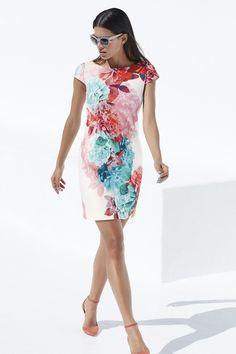 Eliza J Floral Print Cap Sleeve Scuba Sheath Dress