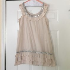 CLEAN OUT Anthropologie Yoana Baraschi Dress Absolutely super RARE Boho Anthropologie Yoana Baraschi Embellished Shift Dress Size M GORGEOUS! Unique embellishments fully lining hem and nape in classical ivory Pricing firm during sale Anthropologie Dresses Midi