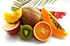 Buy Tropical Fruit by on PhotoDune. fresh tropical fruits – rambutan, papaya, kiwi, mango on a wooden background Pizza Sin Gluten, Tropical Fruits, Kiwi, Grapefruit, Mango, Peach, Banana, Fresh, Cancer