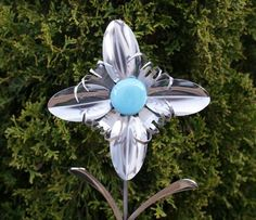 silveware flowers | Silverware Garden Flower Blue Stone Plant Pick from Stainless ... | i ...