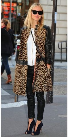 The Classic White Button Down + Leopard print coat + leather leggings