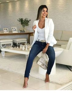 White blazer is extremely elegant and ideal to wear at work, or for a . - Outfits for Work - White blazer is extremely elegant and ideal to wear at work, or for a . Summer Work Outfits, Casual Work Outfits, Business Casual Outfits, Professional Outfits, Mode Outfits, Work Attire, Classy Outfits, Stylish Outfits, Fashion Outfits