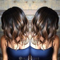 Black and brown balayage hairstyle