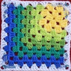 Crochet Motifs, Crochet Blocks, Granny Square Crochet Pattern, Crochet Squares, Crochet Blanket Patterns, Knitting Patterns, Granny Squares, Afghan Patterns, Crochet Blankets