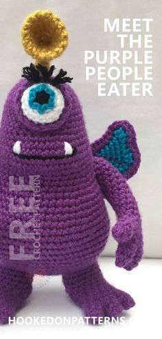 Free Toy Amigurumi Crochet Pattern. Check out this cute purple crochet monster! Free Crochet at Hookedonpatterns.com #crochet #toy #crafts