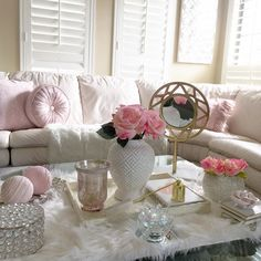 Pink Sparkly, Shabby Chic Living Room, Glam Room, Beautiful Day, Throw Pillows, Chair, Bed, Rooms, Decorations