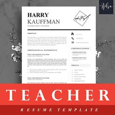 Buy One Get One FREE Professional Resume Template Teacher