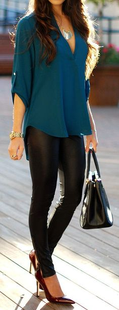 http://www.anniversary-ideas.com Faux Leather Pant with Teal Blouse and Burgundy Pu...