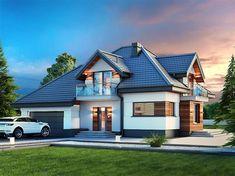 Projekt domu Alicja N 2G+ 138,55 m2 - koszt budowy 248 tys. zł - EXTRADOM House Outside Design, House Design, My Ideal Home, Dream House Exterior, House Beds, Home Fashion, Home Projects, Beautiful Homes, Beach House