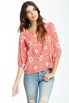 Peach Love Cream California 3/4 Length Sleeve Scoop Neck Tribal Blouse by Non Specific on @HauteLook