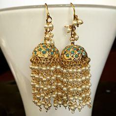 Feroza Pearl Jhumka tassel String Earrings Indian by JhumkaBali