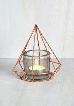 Point Venture Votive Candle Holder. Bring geometric glamour to any space you decorate with this gem of a votive holder! #copper #modcloth